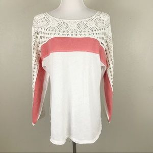 NWOT Free People Crochet Lace Colorblock Tunic Tee